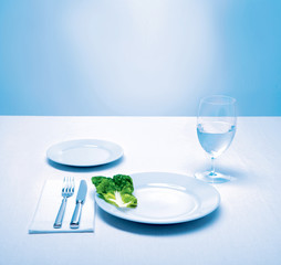 table setting, lettuce leaf as a meal, diet