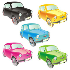 fully editable vector isolated funny colored cars