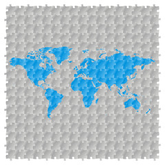 fully editable vector world map with puzzle pattern