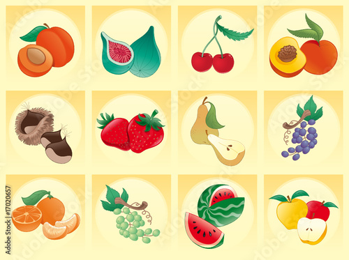 fruit with background- vector and cartoon illustration