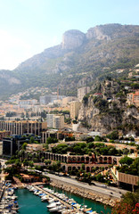 aerial view of the high-rise apartments and marina in Monaco