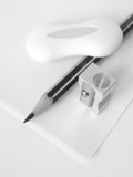 stationery set in black and white poster
