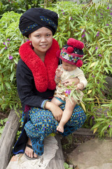 Asiatische Frau mit Baby von Laos