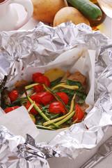Branzino al cartoccio con zucchine e pomodorini - Veneto
