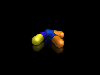 pills isolated on black