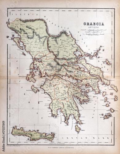 In de dag Retro Old map of Greece, 1870