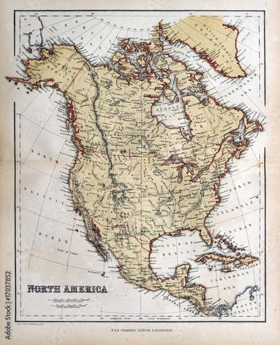 In de dag Retro Old map of North America, 1870