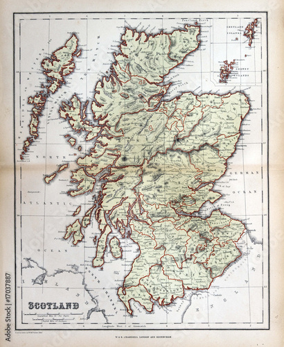 Foto op Canvas Retro Old map of Scotland, 1870