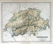 Old map of Switzerland, 1870. Schweiz, la Suisse