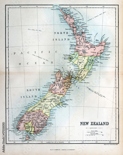 Papiers peints Retro Old map of New Zealand, 1870
