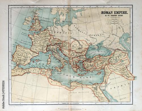 Fototapeta Old map of the Roman Empire, 1870