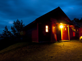 Norwegian Cabin at Night