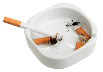 White ashtray with a smoking butts and cigarette.