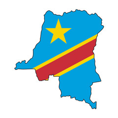 mappa bandiera Democratic Republic of the Congo