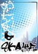 graffiti skateboard blue poster background 2