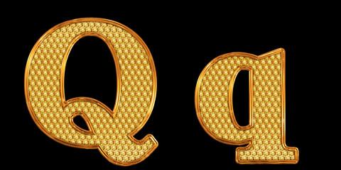 ゴールドのアルファベット q