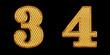 ゴールドの数字 3 4
