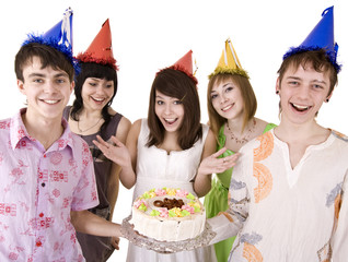 Group of  people  with cake celebrate happy  birthday.