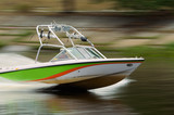 Speed motor boat poster