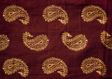 Traditional Indian hand printed fabric with mango design