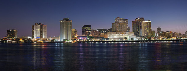 Panorama of New Orleans after sunset from Mississippi River