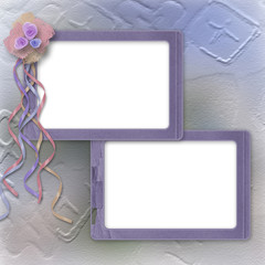 Grunge lilac frame for photo with bunch of flowers