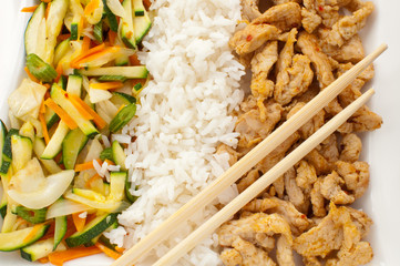 Grilled meat, rice and vegetables