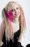 portrait of young woman with dreadlocks poster