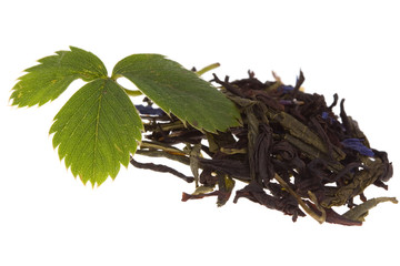 Tea and strawberry leaf on isolated