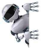Robot et panneau blanc