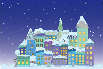 christmas construction town little city  vector series