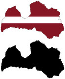 vector  map and flag of latvia poster
