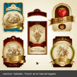 vector labels: food and beverages