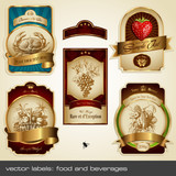 Fototapety vector labels: food and beverages