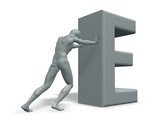 man pushes uppercase letter E