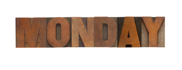 the word Monday in old wood type