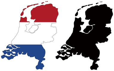 vector  map and flag of netherlands