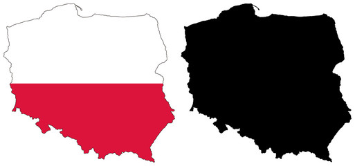 vector  map and flag of poland