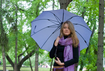 girl with umbrella and scarf