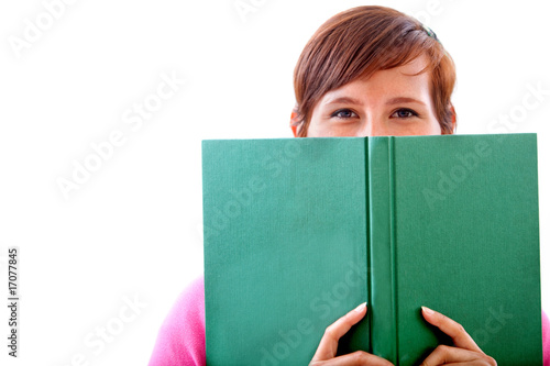 Woman covering with a book
