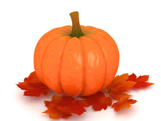 Pumpkin and leafs