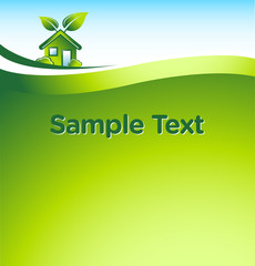 vector GREEN eco house with place for your text 2