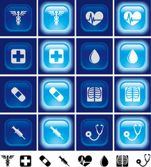 Medical buttons with light effect Off and on