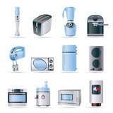 Kitchen and home equipment icons - vector icon set