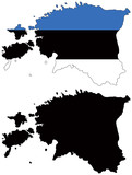 vector  map and flag of estonia poster