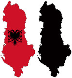 vector  map and flag of albania poster