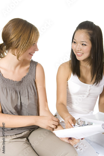 Asian and caucasian students girls