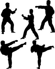 five fighter silhouettes