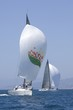 Two yachts compete in team sailing event, California