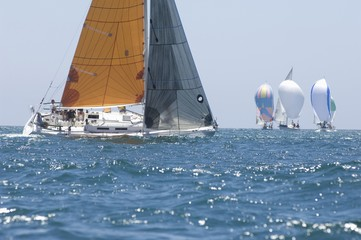 Yachts compete in team sailing event, California